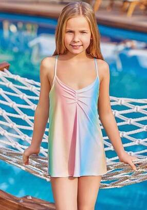 Adasea - Adasea 5045-18 Yellow Kids Dress Swimsuit