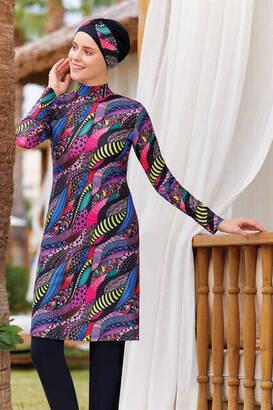 Adasea - Adasea Lycra Hijab Fully Covered Swimsuit 4223-20 - Black