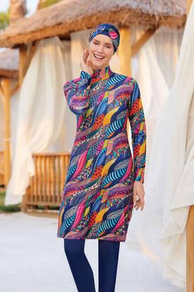 Adasea - Adasea Lycra Hijab Fully Covered Swimsuit 4223-20 - Dark Navy