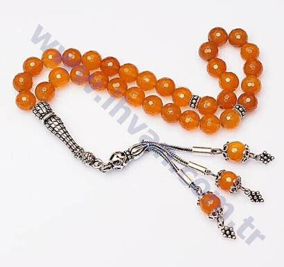 İhvan - Agate Stone Rosary (925 AYAR SILVER WITH FACED)