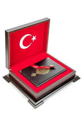 Hayrat Neşriyat - Ahşap Kutulu Türk Bayrağı Desenli Hediye Kur'an Seti Dini Hediyelik