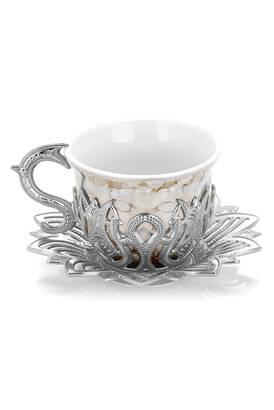 İhvan - Ahsen 6 lı Kahve Sunum Fincan Seti Kahverengi Desenli Gümüş Renk