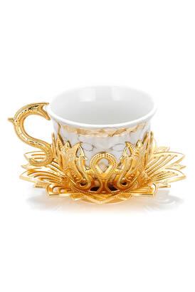 İhvan - Ahsen 6 lı Kahve Sunum Fincan Seti Kahverengi Desenli