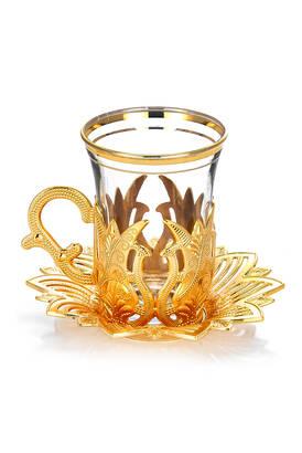 Busem Hediyelik - Ahsen 6 Piece Tea Set Gold