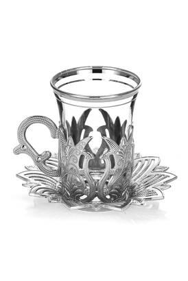 Busem Hediyelik - Ahsen 6 Piece Tea Set Silver