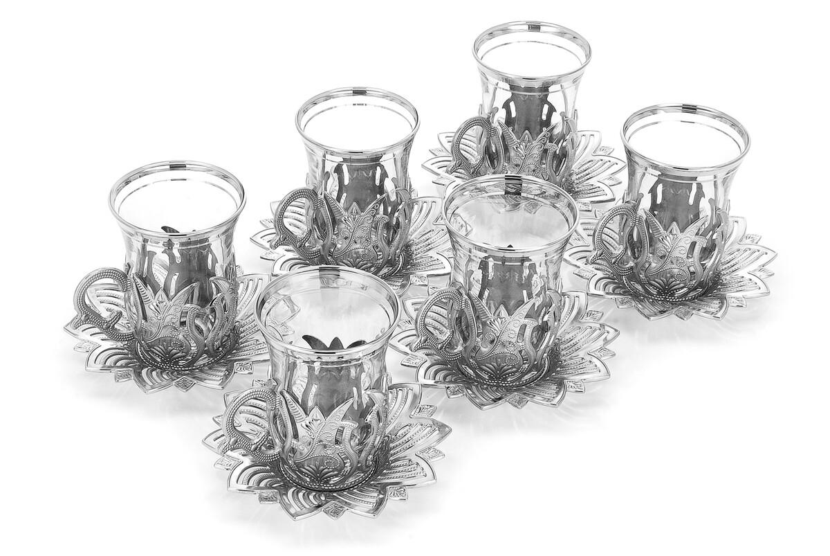 Ahsen 6 Piece Tea Set Silver