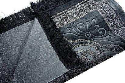 Akrilik Polyester Simli Seccade - Siyah Renk