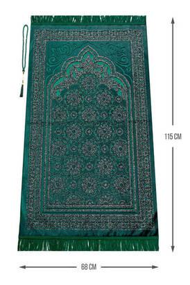 İhvan - Akrilik Polyester Simli Seccade Tesbih Hediyeli Yeşil Renk