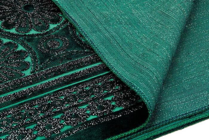 Akrilik Polyester Simli Seccade Tesbih Hediyeli Yeşil Renk