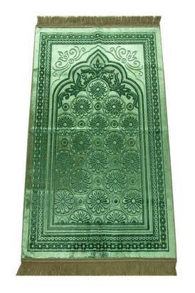 İhvan - Akrilik Polyester Simli Seccade - Yeşil Renk