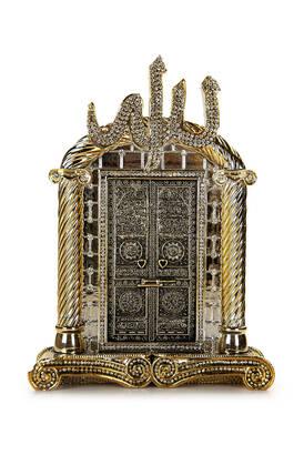 İhvan - Allah Lafızlı Kabe Kapısı Kristal Taş Süslemeli Dini Hediyelik Biblo Gold Renk