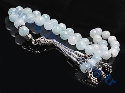 İhvan - Aquamarine Stone Rosary (925 AYAR SILVER)