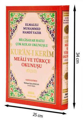 Arapça Türkçe Okunuşlu ve Mealli Kuranı Kerim - Üçlü Kuran - Cami Boy - Seda Yayınevi