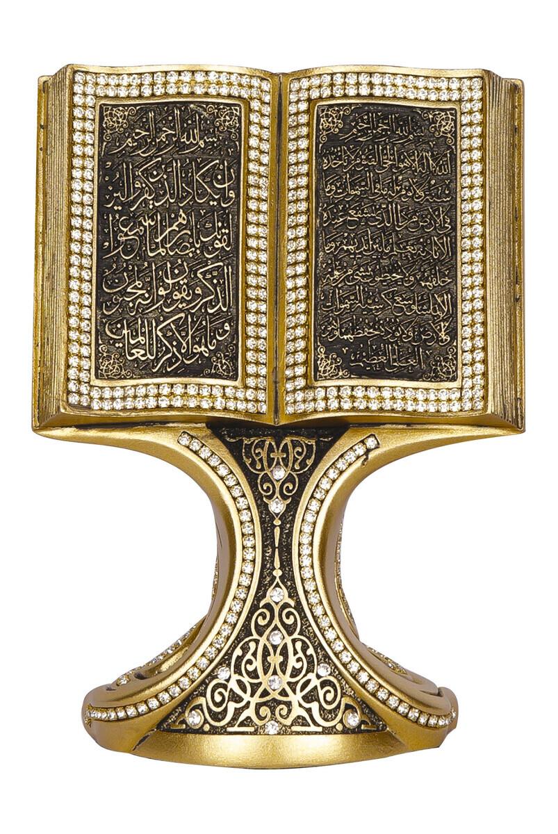 Ayetel Kürsi Nazar Ayeti Kristal Taşlı Dini Hediyelik Kitap Biblo Sarı (Orta Boy)