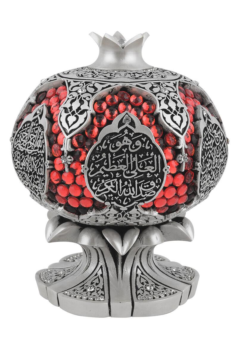 Ayetel Kürsi Crystal Stone Religious Gift Pomegranate Trinket Silver