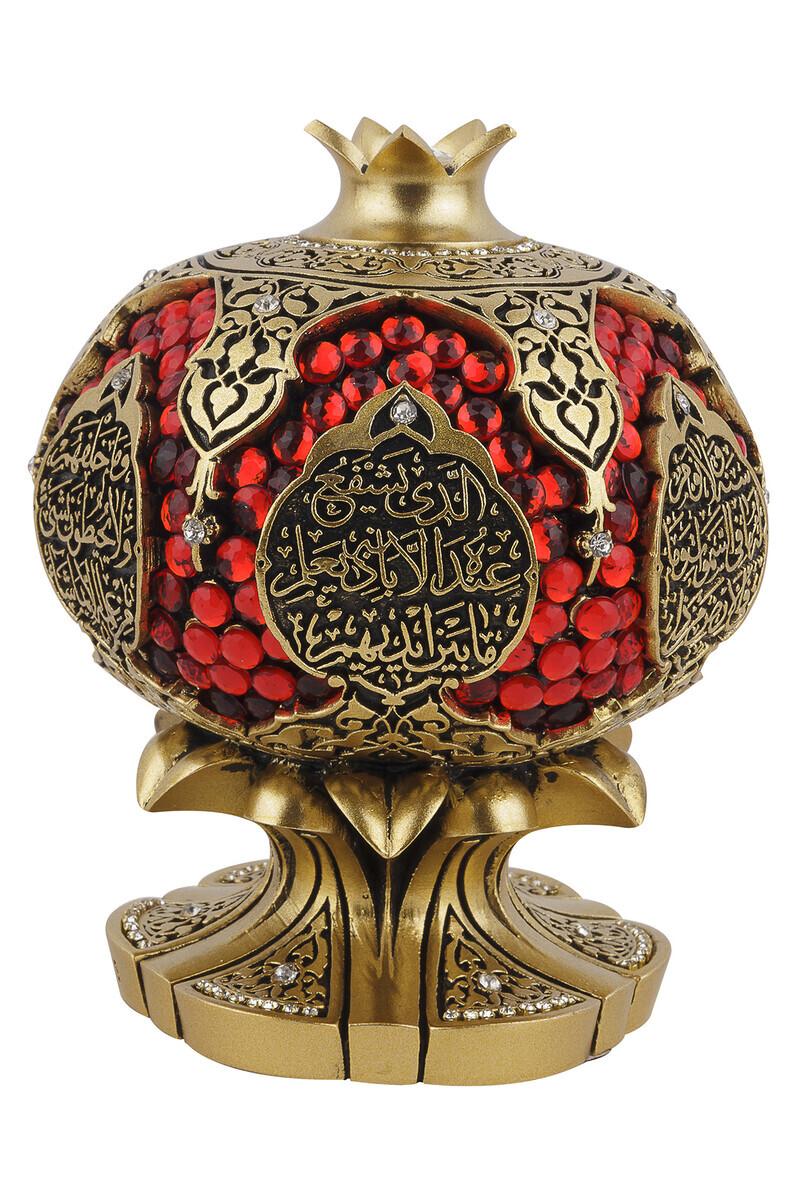 Ayetel Kürsi Crystal Stone Religious Gift Pomegranate Trinket Yellow