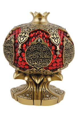 İhvan - Ayetel Kürsi Crystal Stone Religious Gift Pomegranate Trinket Yellow