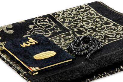Babalar Gününe Özel İsim Baskılı Kadife Kaplı Yasin Kitabı Seccadeli Tesbihli Set - Siyah