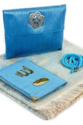 İhvan - Babalar Gününe Özel İsim Baskılı Kumaş Kaplı Yasin Kitabı Seccadeli Tesbihli Keseli Set - Mavi Renk