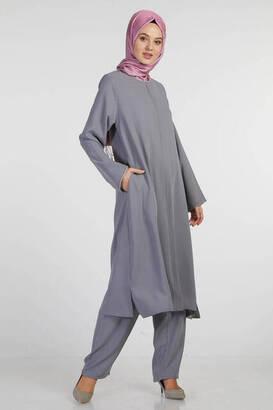 İsra Moda - Bayan Hac Umre Kıyafeti Gri