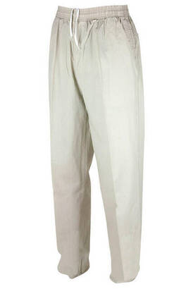 Berat Keten Açık Krem Erkek Şalvar - Hac Umre Pantolonu