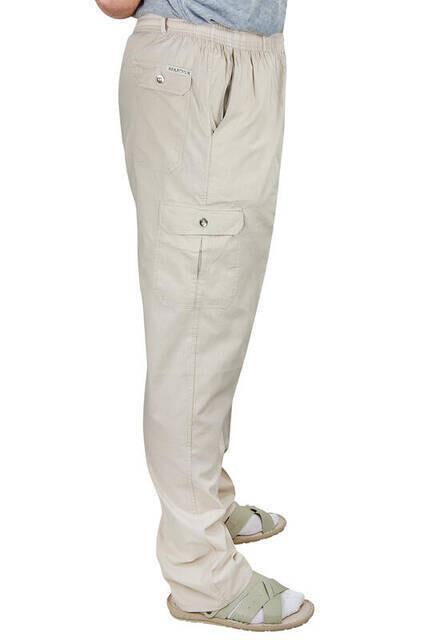 Berat Lüks Keten Bej Erkek Şalvar - Hac Umre Pantolonu
