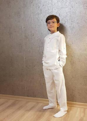 İhvan - Beyaz Çocuk Şalvar Pantolon - Hac Umre Kıyafeti
