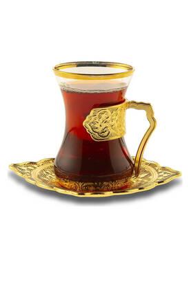 İhvan - Beyzade Hediyelik 6 lı Çay Sunum Seti Sarı