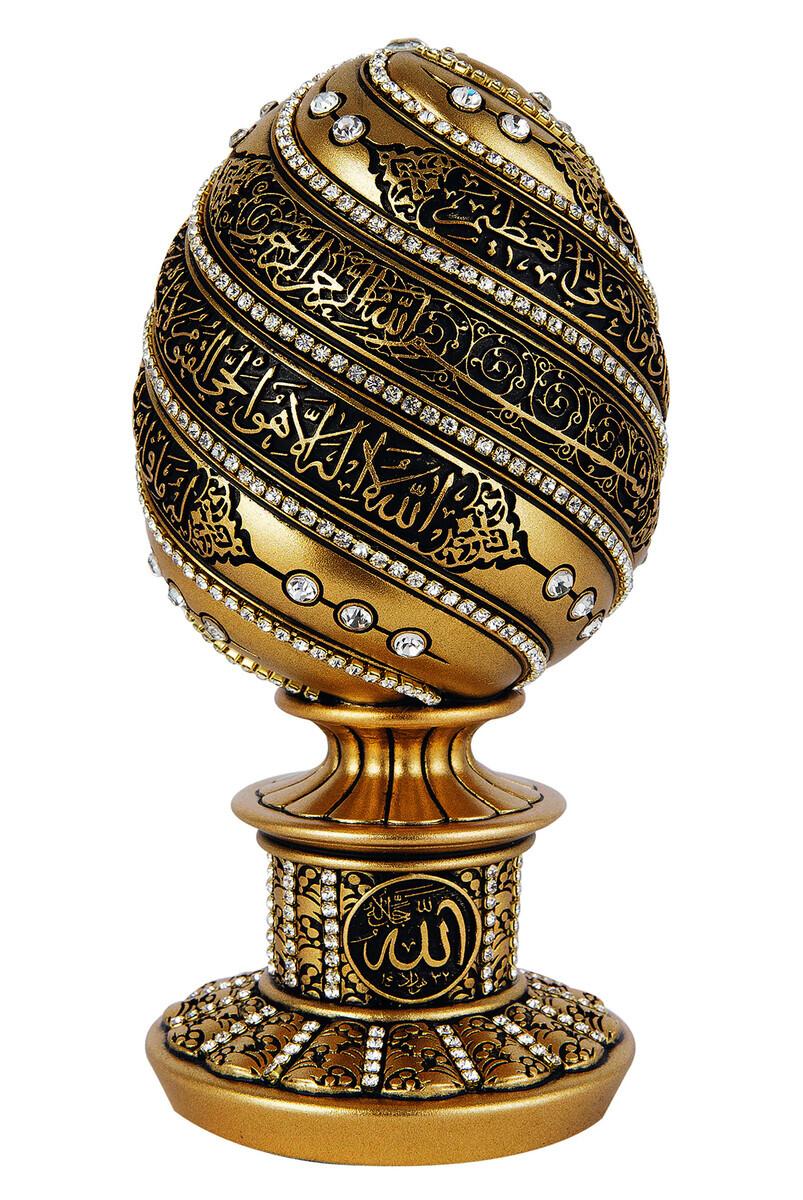 Biblo Ayet-el Kürsi Kristal Taşlı Dini Hediyelik Biblo (Büyük Boy) Sarı