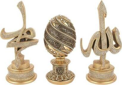 İhvan - Biblo Seti (Swaroski Taşlı) Dini Hediyelik 1148 - Gold