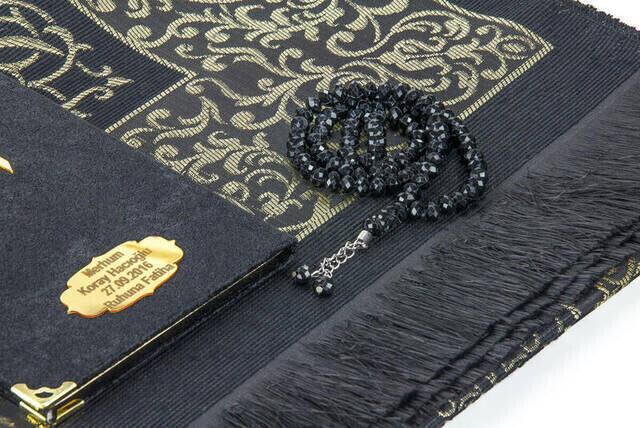 Biricik Anneme Özel Set Cep Boy Kadife Yasin Kitabı İsim Plakalı Seccade Tesbih Kutulu Siyah