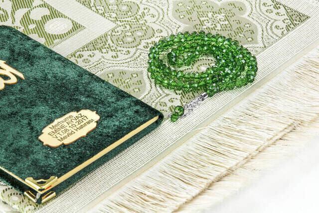 Biricik Anneme Özel Set Cep Boy Kadife Yasin Kitabı İsim Plakalı Seccade Tesbih Kutulu Yeşil