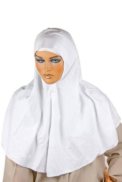 Boneli Hazır Başörtü Takımı Beyaz -1154