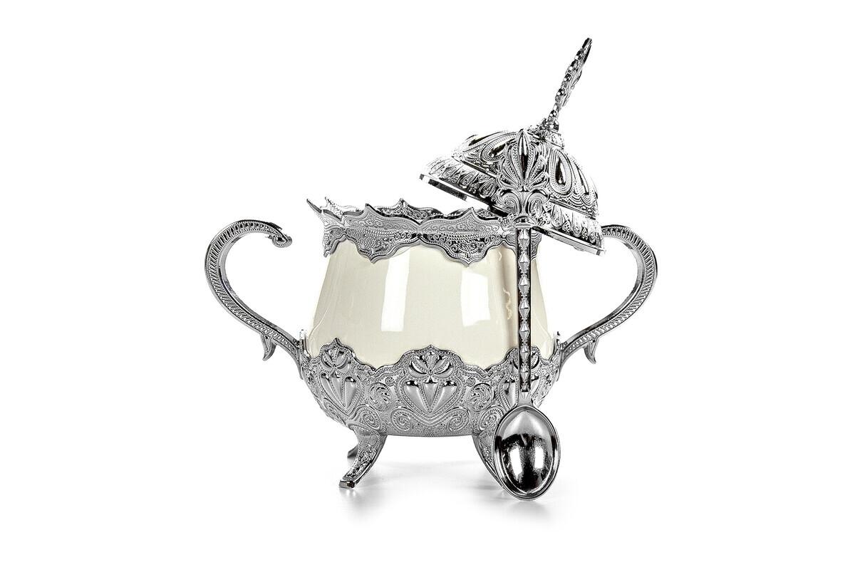 Busem Porcelain Round Sugar Bowl Turkish Delight Holder Silver