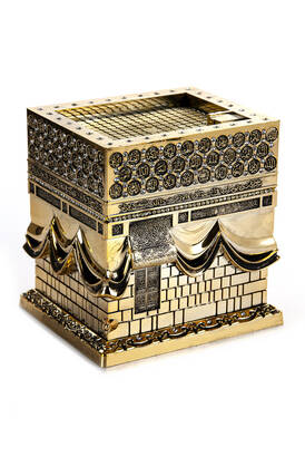 - Büyük Kabe Minyatür Maketi Dini Hediyelik Biblo Altın Rengi