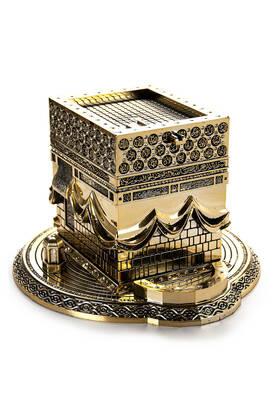 İhvan - Büyük Kabe Minyatür Maketi Geniş Kaideli Dini Hediyelik Biblo Altın Rengi