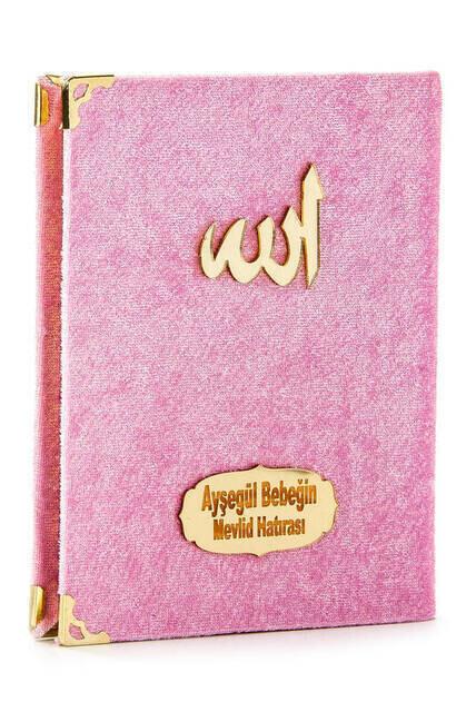 Cep Boy Kadife Yasin Kitabı İsim Plakalı Seccade Tesbih Kutulu Özel Set Pembe
