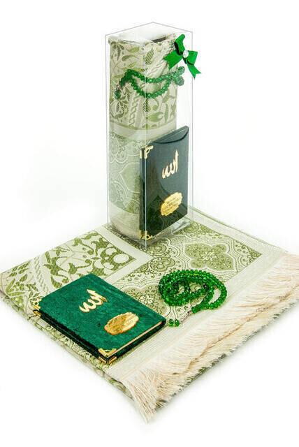 Cep Boy Kadife Yasin Kitabı İsim Plakalı Seccade Tesbih Kutulu Özel Set Yeşil