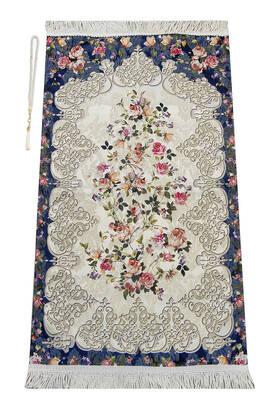 İhvan - Çiçek Desenli Osmanlı Motifli Şönil Seccade Lacivert