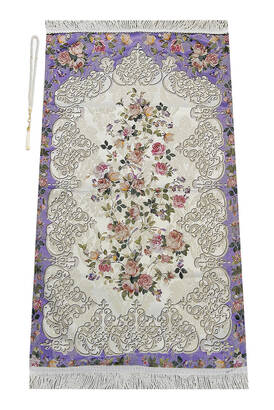 İhvan - Çiçek Desenli Osmanlı Motifli Şönil Seccade Lila