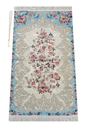 İhvan - Çiçek Desenli Osmanlı Motifli Şönil Seccade Turkuaz