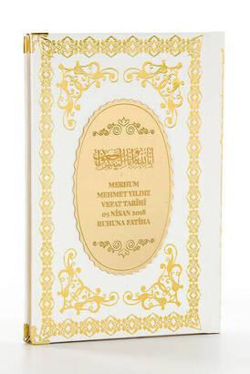 İhvan - Ciltli Yasin Kitabı - İsme Özel Plakalı - Orta Boy - 176 Sayfa - Beyaz - Mevlüt Hediyeliği