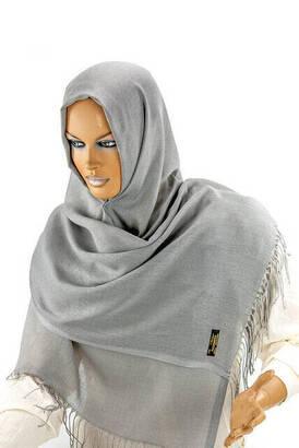 İhvan - Cotton Pashmina Shawl - Gray