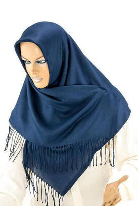 İhvan - Cotton Pashmina Shawl - Navy Blue