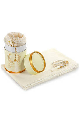 İhvan - Cylinder Box Mevlid Gift Set - Pearl Rosary - Cotton Patterned Fistula Mevlid Covered - Cream Color