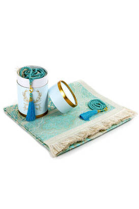 İhvan - Cylinder Islamic Gift Box Blue, Prayer Rug Set, Prayer Rug With Free Rosary, Muslim Prayer Mat, Eid Gift, Ramadan Gift, Islamic Gifts