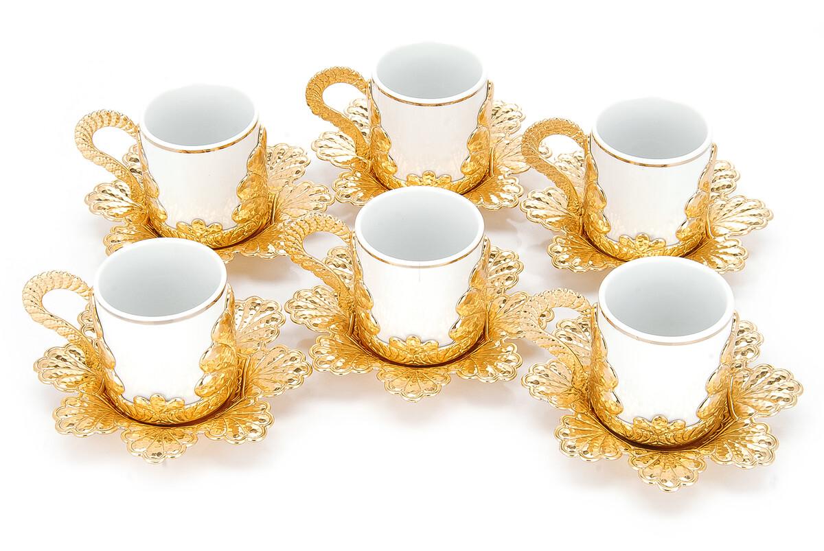 Damla 6'lı Kahve Sunum Fincan Seti Sarı