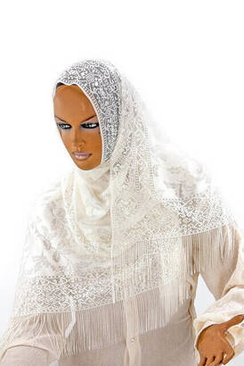 İhvan - Delicate Cotton Tulle Shawl Cream