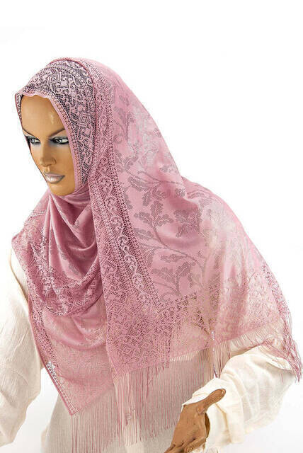 Delicate Cotton Tulle Shawl Dried Rose