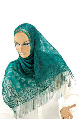 İhvan - Delicate Cotton Tulle Shawl Green
